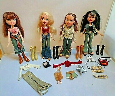 "4 Bratz ""Style it"" Dolls Cloe Yasmin Dana Jade in Original Outfits"