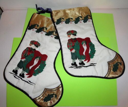 2  APPLIQUED VICTORIAN BOY WITH WREATH CHRISTMAS STOCKING