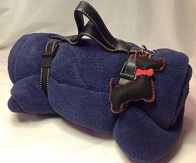 Jeffrey Banks Blue Soft Fleece Throw Travel Blanket & Scottie Dog