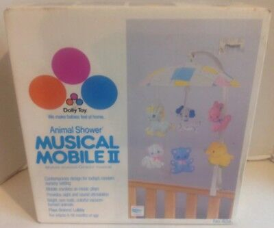 VTG 1986 Musical Mobile II Animal Shower Dolly Toy Wind-up Crib Toy Baby Lullaby ()
