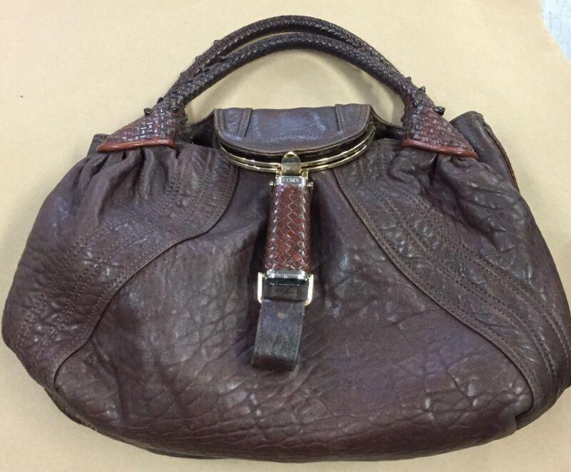 FENDI Spy Bag Handbag 8BR511 Brown Leather Ladies Used Excellent