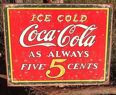Ice Cold Coca Cola Tin (COKE Coca Cola Sign Tin Vintage Garage Bar Decor Old Ice Cold Always Five 5)