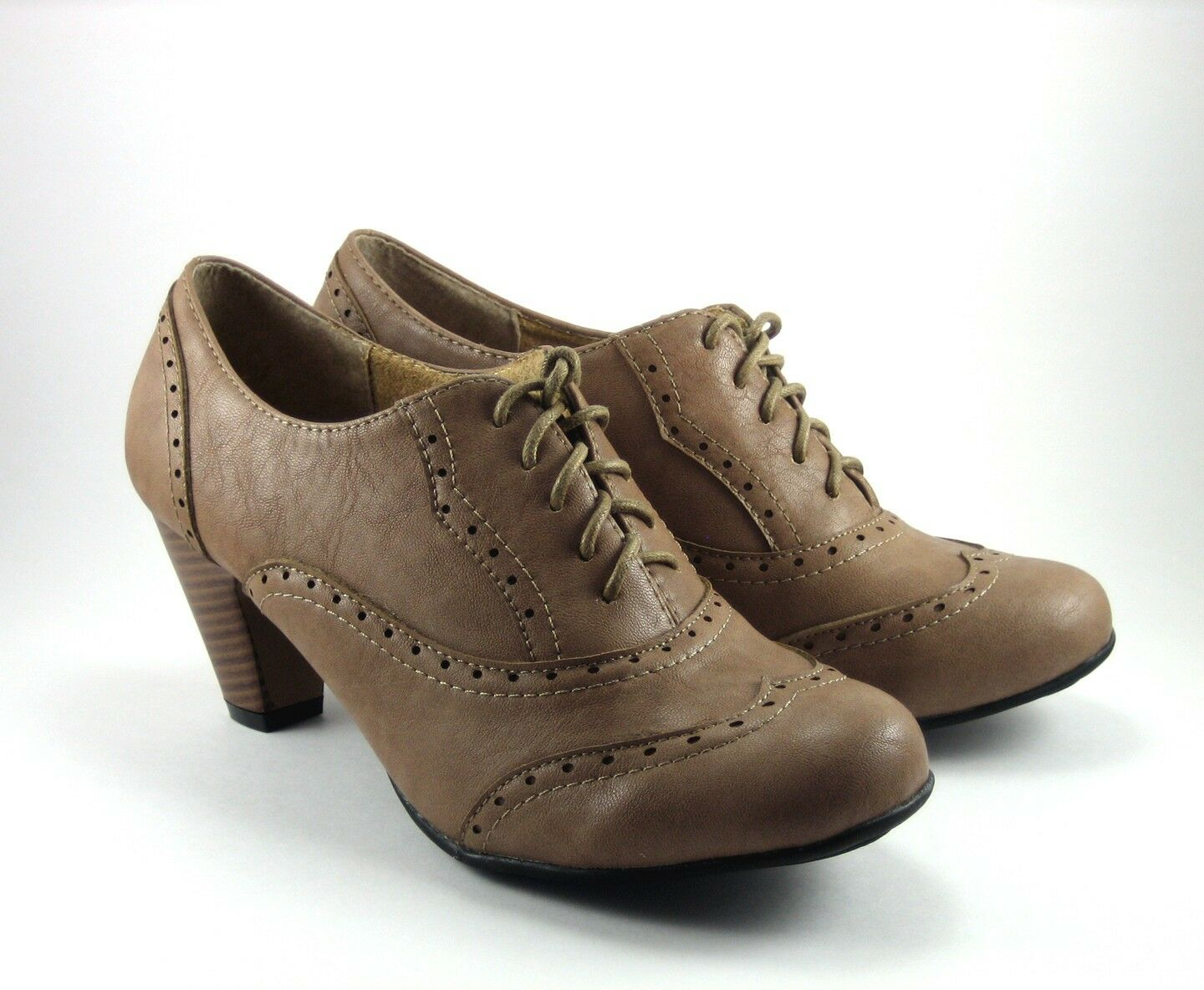 NEW Women Vintage Oxford Faux Leather Retro Lace Up Stacked High Heel Shoe
