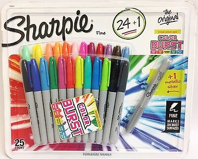Sharpie Fine Point 25 Permanent Markers 24 Assorted 1 Silver Metallic