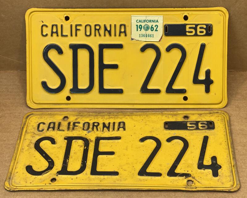 RARE NICE PAIR 1956 DMV CLEAR  SDE 224 ( CALIFORNIA ) CAR LICENSE PLATE- VINTAGE