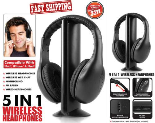 5IN1 Wireless Headphone Cordless RF Mic for PC TV DVD CD MP3