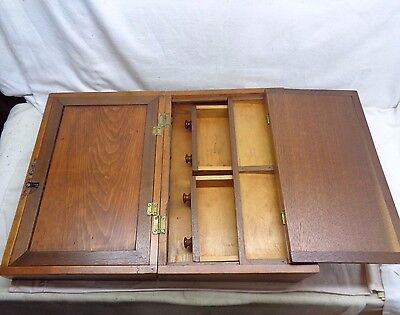 Antique Wooden Lap/Field Writing Case Wood Tool Tole