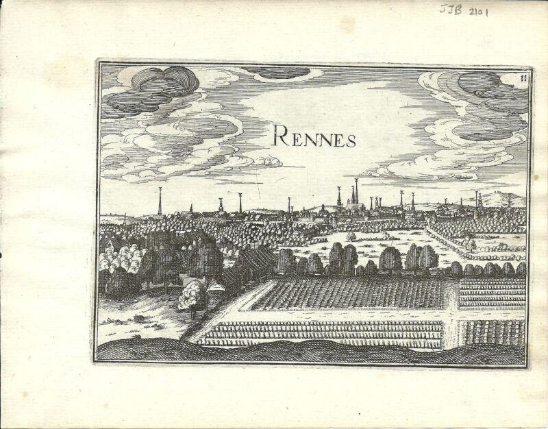 Antique map, Rennes