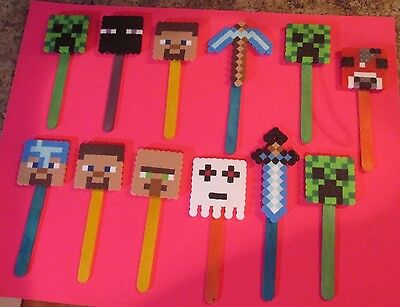 MINE CRAFT Inspired BOOK MARKERS Birthday Party Favors Lot 12 Beads Cake - Mine Craft Party Supplies