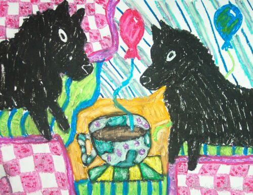 Schipperke Art Print Signed by Artist Kimberly Helgeson Sams Painting 11x14
