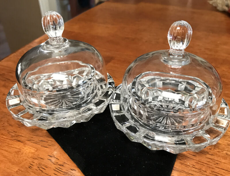 2 Dome Glass Crystal Clear Individual Butter Pat Dish Set