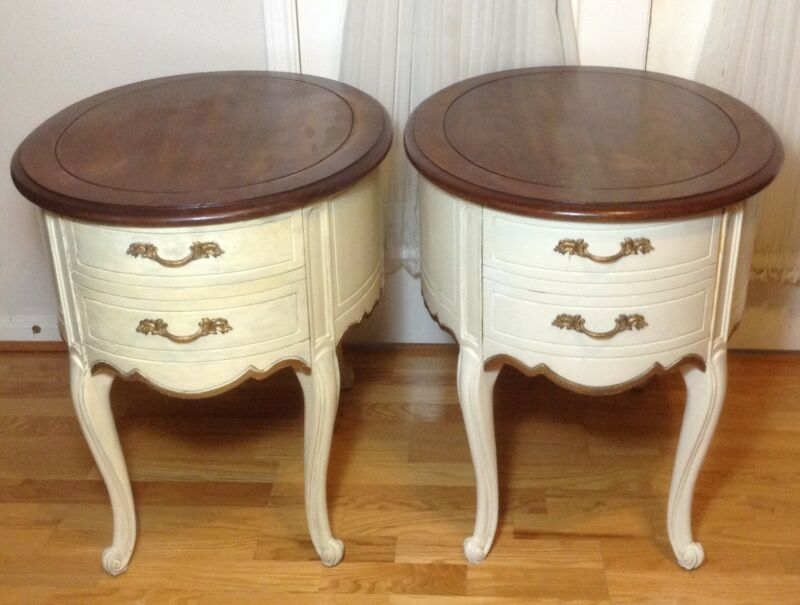 Two Vintage Weiman  Wood Collection End Side Tables With Drawer