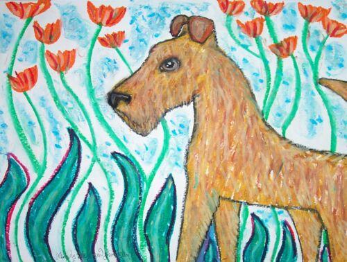 IRISH TERRIER Garden Wonder Dog Pop Wall Art Signed Limited Print 8 x 10 KSAMS