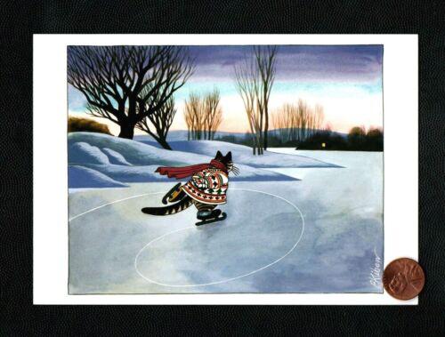 KLIBAN Kitten Cat Grey Tabby Ice Skating Trees Snow Christmas Greeting Card NEW
