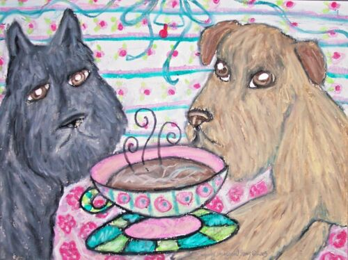 Bouvier des Flandres drinking Coffee Art Print 11x14 Signed by Artist KSams dogs