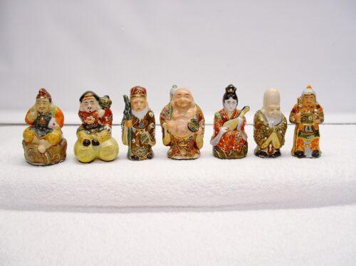7 Vintage Antique Ornate Japanese 7 Lucky Gods Kutani Porcelain Excellent