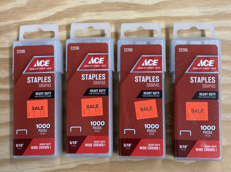 "4 - ACE Heavy Duty Wide Crown I Staples -  5/16"" / 8mm - 4 Pack / 4000 Pc"
