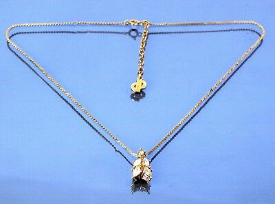 Auth Christian Dior CD Logo Gold Tone Chain Necklace Crystal Stone Pendant 4 gm