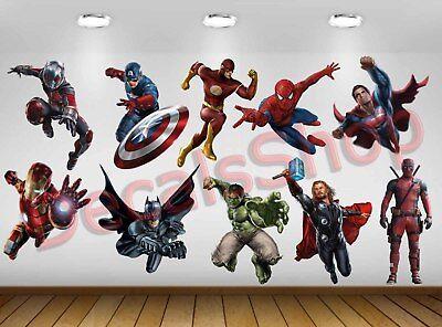 Set 10pcs Character SuperHero Avengers Vinyl Wall Decal Sticker DC Marvel Kid