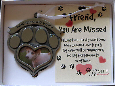 Who Rescued Who? Heart Photo Ornament Dog Pet Christmas Memorial New Paw Print