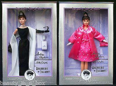 Audrey Hepburn Breakfast at Tiffany's Black Gown Pink Barbie Doll Lot 2 Minor SW