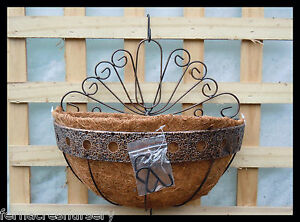 FAON-FERN-Orchid-Garden-Wall-wire-Hanging-Basket-12-Powder-coated-with-coir