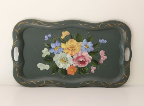 vintage sage green hand-painted floral tole tray scalloped rim 14 x 25
