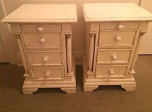 Vintage shabby chic white cream bedside tables Homebush Strathfield Area Preview