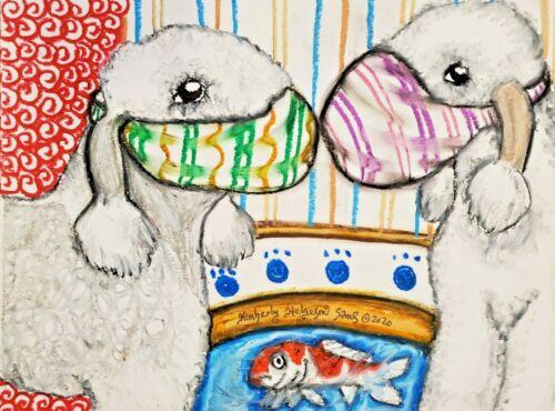 BEDLINGTON TERRIER Quarantine 11x14 Dog Art Print Signed by Artist KSams
