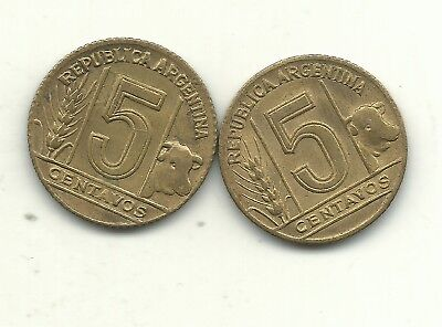 Lot 2 High Grade 1947 Argentina 5 Centavos Doubling Or More On The Digit 7 Jan11