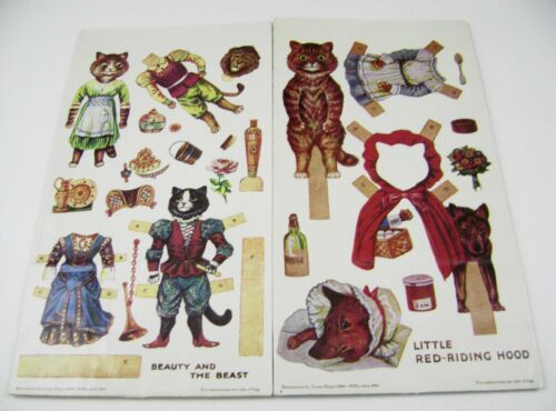VTG PAPER DOLLS LOT (2) LOUIS WAIN CAT FAIRYTALES 1982 GIFT BAGS MRS. GROSSMAN