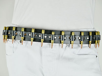 LEATHER BULLET BELT BIKER GOTH HEAVY METAL ROCKER PUNK CYBER FETISH STAGE GOTHIC Belts