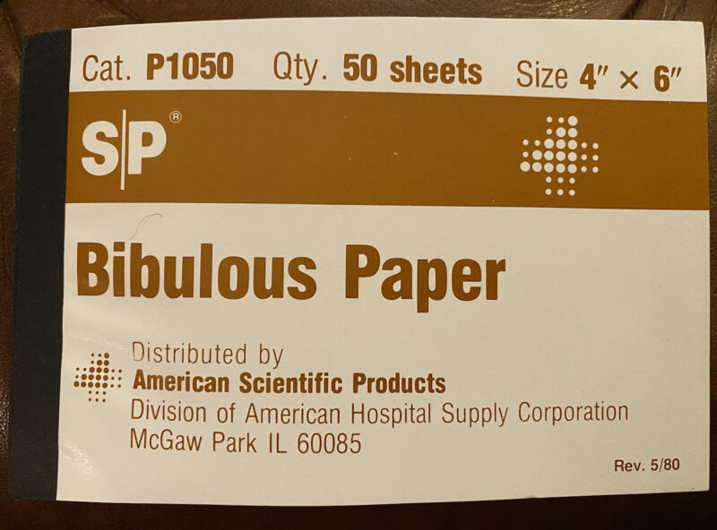 """BIBULOUS PAPER - American Scientific Products for Drying Slides (QTY:50) 4""""x6"""""""