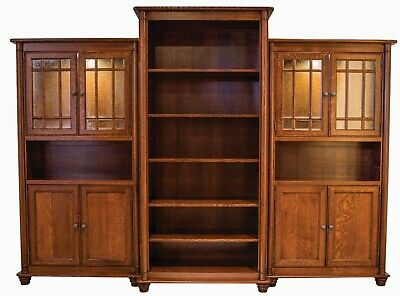 Large Amish Executive Bookcase 3-Pc Solid Wood Traditional Glass Doors 115