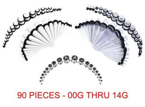 90 Pc Wholesale Lot Acrylic Stainless Steel Plugs Tunnels 00G-14G White Clear