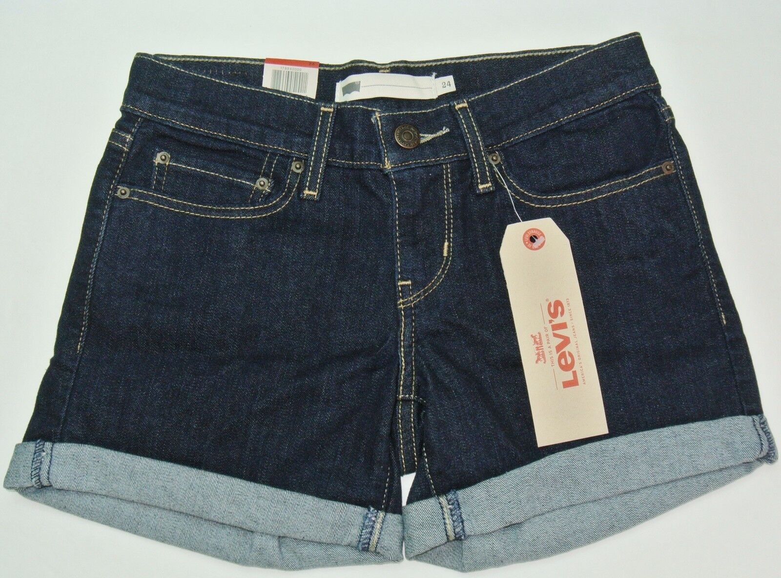 Levi's Women's Shorts 24 Blue Dark Wash Short Jeans Mid