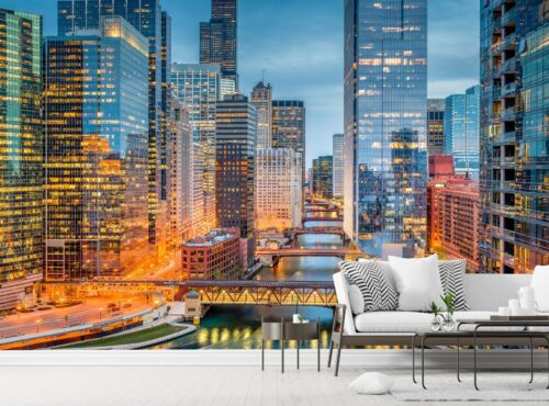 Chicago City Photo Wallpaper Illinois Wall Mural Skyline DECOR Paper Poster