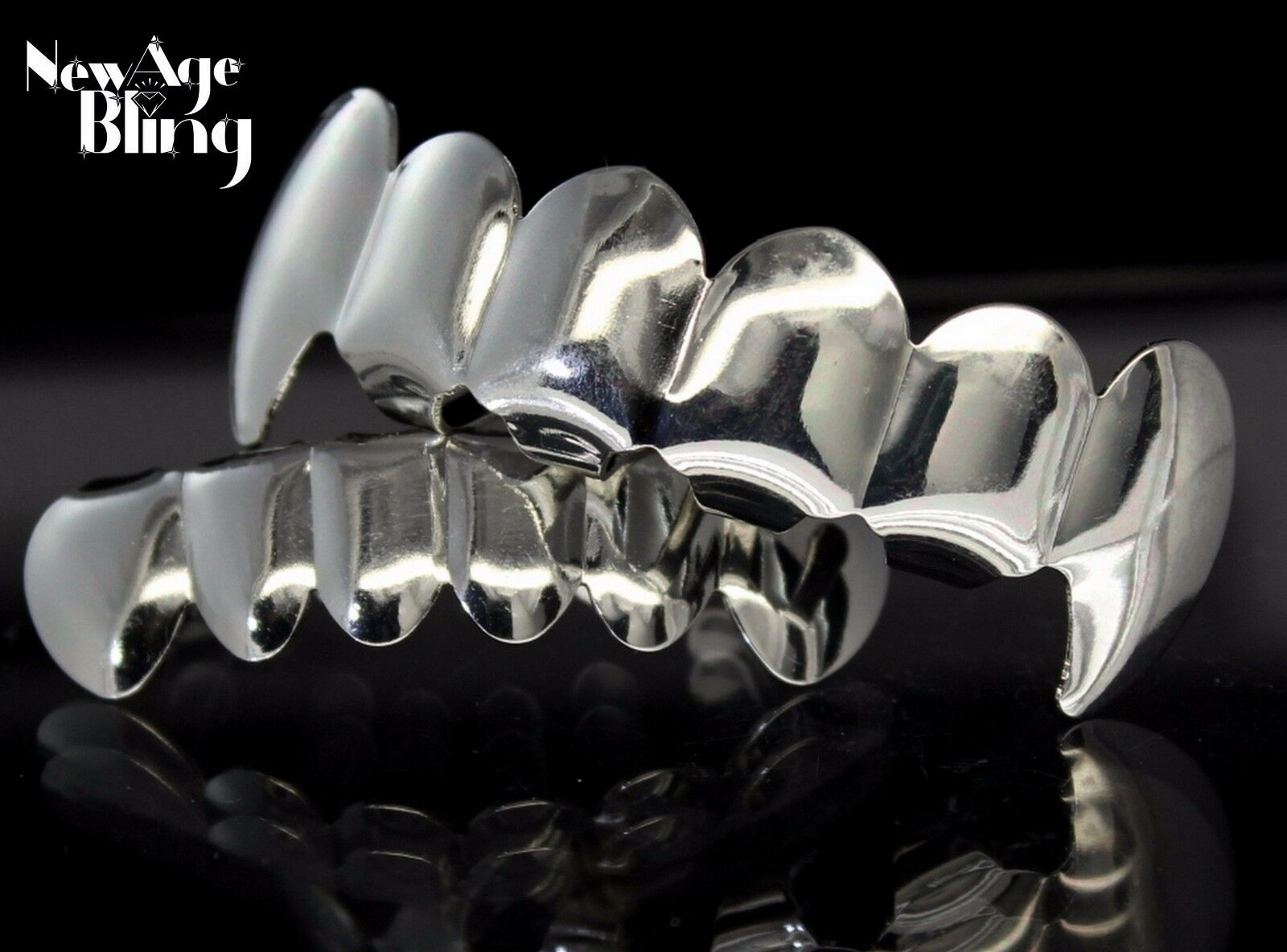 New Custom Fangs Silver Plated Hip Hop Teeth Grillz Caps Top