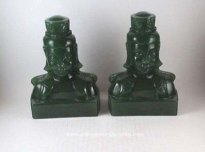Pair of Jade Cathay Green EMPRESS Bookends ☆ IMPERIAL Hand Crafted by LENOX  Jade Glass Bookends