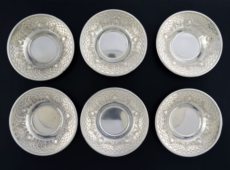 "Set Of 6 Gorham Durgin Garland Pattern 8A 925 Sterling Silver Nut Dishes 3.25"""