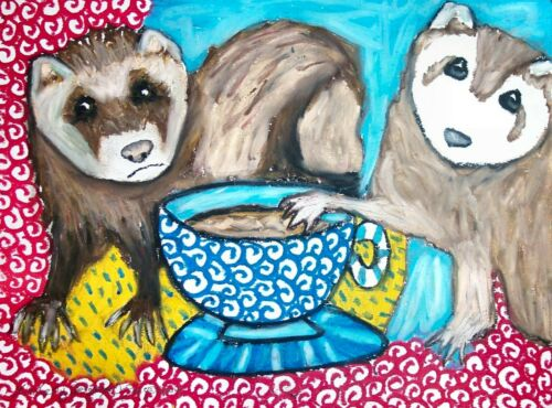 Ferret Collectible 4x6 Art Print Drinking Coffee Signed by Artist KSams Vintage