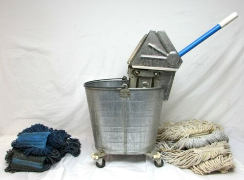 WHITE WRINGER MOP BUCKET - 6 GAL. GALVANIZED w/ 6 mop heads