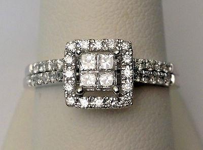 14k White Gold Quad Halo Princess Cut Diamond Bridal Wedding Engagement Ring Set