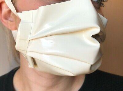 Latex Rubber Face Mask - White - Fancy Dress Fetish 0.4mm Hood