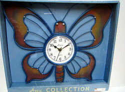 New Butterfly Shaped Blue Quartz Metal Wall Clock Butterflies
