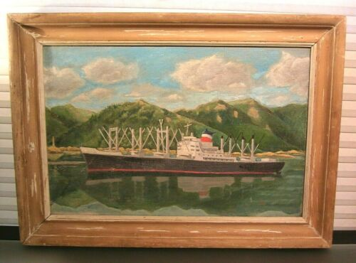 Vintage Painting Harbor Cargo Ship Docks Japanese American Artist