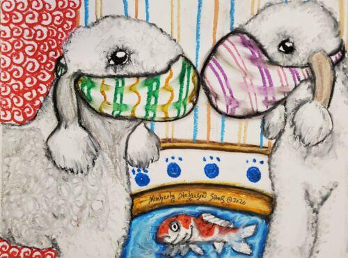 BEDLINGTON TERRIER in Face Masks 4 x 6 Dog Art Print Signed by Artist KSAMS