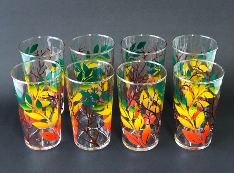 Vintage Federal Ombré Leaf Twig Drinking Glasses Tumbler Set Of 8 Fall Retro MCM