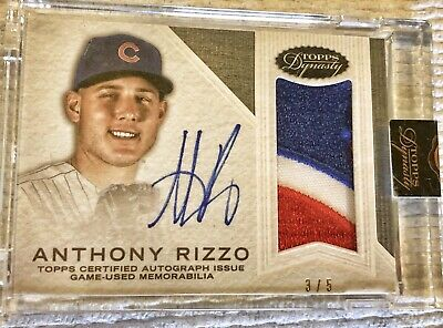 2016 Topps Dynasty Game Worn Jersey Patch On Card Auto Anthony Rizzo 3/5 Cubs