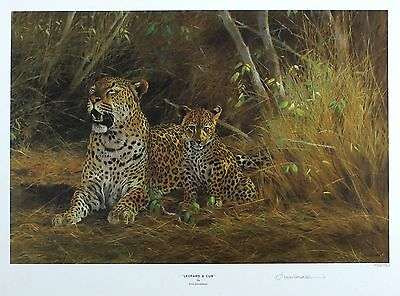 "KIM DONALDSON ""Leopard & Cub"" savannah SIGNED LIM ED! SIZE:40cm x 52cm NEW RARE"